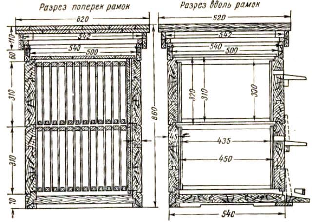 Ульи дадана для пчел своими руками чертежи 610